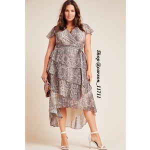 Anthropologie Serpentine Ruffled Midi Wrap Dress